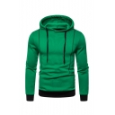 Men's Simple Fashion Solid Color Drawstring Hooded Long Sleeve Casual Drawstring Pullover Hoodie