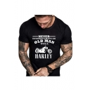 Summer Fashion Letter HARLEY Motorcycle Printed Round Neck Short Sleeve Graphic T-Shirt