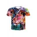 New Arrival Popular Colorful Lion Pattern Round Neck Short Sleeve Sports T-Shirt For Men