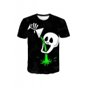 Unique Creative Halloween Skull Printed Short Sleeve Round Neck Casual Black Tee