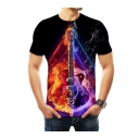 New Stylish Colorblock Fire Guitar Print Round Neck Short Sleeve Basic T-Shirt