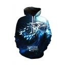 Hot Popular Letter WINTER IS COMING Wolf 3D Printed Long Sleeve Navy Drawstring Pullover Hoodie