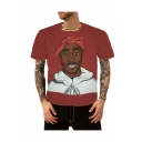 New Stylish 3D Character Print Basic Round Neck Short Sleeve Red T-Shirt For Men
