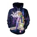 Hot Fashion Galaxy Cat Dropped Rainbow 3D Printed Long Sleeve Purple Loose Hoodie