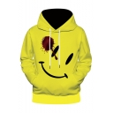 New Arrival Stylish Smiley Face Blood Printed Yellow Long Sleeve Drawstring Hoodie