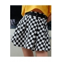 Women Black and White Checkered Plaid Pattern Mini Pleated Skirt