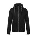 Men's Unique Classic Simple Plain Zip Closure Long Sleeve Drawstring Hooded Padded Coat