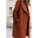 Women's Winter Fashion Notched Lapel Collar Longline Double Pocket Shearling Overcoat