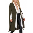 Womens Collarless Slit Sleeve Open Front Long Blazer Chic Cape Coat