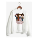 New Fashion Stranger Things Cartoon Figure Printed Mock Neck Long Sleeve Pullover Sweatshirt