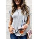 Women Stylish Short Sleeve Round Neck Plain Ruffle Hem Casual Loose Grey T-Shirt