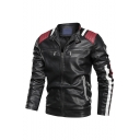 New Stylish Colorblock Peint Long Sleeve Stand-Collar Zip Up Casual Leather Jacket For Men