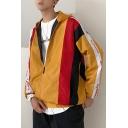 New Trendy Colorblock Print Zip Closure Long Sleeve Hooded Fitted Jacket