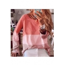 Hot New Trendy Long Sleeve Round Neck Long Sleeve Colorblock Printed Loose T-Shirt