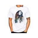 Hot Popular Figure Printed Round Neck Short Sleeve White T-Shirt For Men