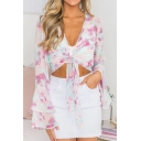 Fashion Pink Floral Printed Sexy Plunging Neck Knotted Hem Cropped Chiffon Blouse Top