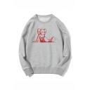 Popular Fashion Cartoon Figure Printed Round Neck Long Sleeve Unisex Trendy Sweatshirts