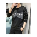 Mens New Fashion Letter STONES Printed Round Neck Long Sleeve Casual Pullover Sweatshirts