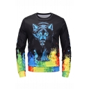 Popular Fashion Colored Paint Wolf 3D Printed Black Long Sleeve Round Neck Mens Pullover Sweatshirts
