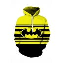 Hot Popular Contrast Stripe Bat 3D Printed Yellow Relaxed Fit Long Sleeve Drawstring Pullover Hoodie