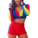 Womens Red Strips Print Front Zipper Round Neck Long Sleeve Crop Tee with Slim Fitted Shorts Two Piece Set
