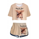 Hot Popular Idol Character 3D Print Pattern Short Sleeve Cropper T-Shirt with Dolphins Shorts Two Piece Set