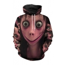 New Stylish Momo Terrorist Event Cartoon Figure 3D Printed Long Sleeve Unisex Drawstring Hoodie