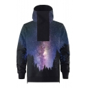 New Arrival Cool Galaxy Forest 3D Printed Long Sleeve High Neck Unisex Casual Pullover Hoodie