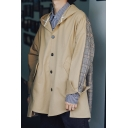 Mens New Stylish Classic Plaid Patched Printed Long Sleeve Single Breasted Jacket Coat