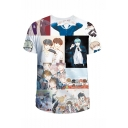 New Trendy Comic 3D Character Print Round Neck Short Sleeve Basic T-Shirt