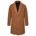 Men's New Fashion Plain Notched Lapel Collar Long Sleeve Single Breasted Fitted Peacoat