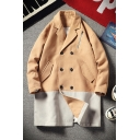 Men's New Arrival Vintage Colorblock Print Notched Lapel Collar Long Sleeve Double Breasted Peacoat