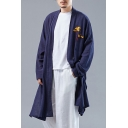 Fashionable Chinese Style Floral Printed Long Sleeve Open Front Longline Linen Loose Coat for Men
