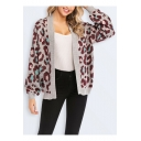 Womens Cool Grey Leopard Print Patterns Flared Sleeve Open Front Cardigan