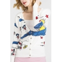 New Arrival Cartoon Graffiti Print V-Neck Long Sleeve Cardigan for Women