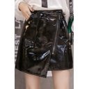 High Waist Off-Center Zip Placket Bright Leather Mini A Line Skirt with Pocket