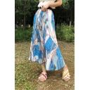 Chic High Waist Tribal Print Midi Pleated Vacation Skirt