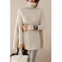 Ladies Simple Plain Roll Neck Ribbed Knit Cape Sweater