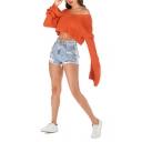 Ladies Sexy Orange Plain V-Neck Flared Sleeve Knitted Sweater