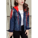 Fashion Ladies Removable Hood Sequined Embellished Short Denim Jacket Coat