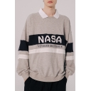 Hot Trendy Letter NASA Colorblock Stripe Pattern Long Sleeve Round Neck Unisex Casual Loose Sweatshirts