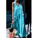 Women's Fashion Halter Sleeveless Tassel Tribal Print Sashes Vintage Maxi Swing Dress