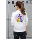 JEWELLERYE Colorful Earth Printed Stand Collar Long Sleeve Baseball Jacket with Pocket