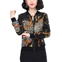 Suave Leopard Chain Panel Printed Stand Up Collar Natural Silk Black Slim Baseball Jacket