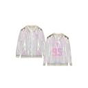 Hot Stylish BTS Pattern Long Sleeve Regular Sun Protection ombré Translucent Jacket Coat