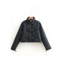 Black Stand Up Collar with Push Buckle Tab Cropped Padded Outerwear Zipper Coat Jacket