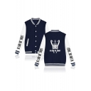 Mens New Fashion Letter Printed Rib Stand Collar Long Sleeve Button Down Unisex Baseball Jacket
