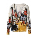 Ladies Cartoon Graffiti Print V-Neck Long Sleeve Fitted Knitwear Cardigan