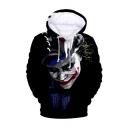 New Stylish Cool Joker 3D Printed Long Sleeve Loose Fit Black Drawstring Pullover Hoodie