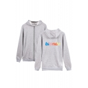 Letter BLOND Printed Long Sleeve Full Zip Casual Sports Hoodie